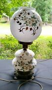 Vntg Double Globe Gwtw Electric Parlor Lamp 3-way White Flowers W/green Leaves
