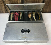Lot Of 2 Umco Corp. Model B-10 Aluminum Fishing Lure Boxes W/ A Few Lures
