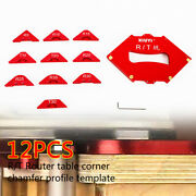 11pcs Wood Board Panel Quick Jig Router Table Bit Corner Template + Wrench