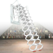3m Wall Mounted Attic Ladder Folding Step Ladder Stair Al-mg Alloy For Loft Home