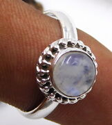 3.60 Gm 925 Solid Sterling Silver Natural Rainbow Cab Stone Fine Ring M-1809
