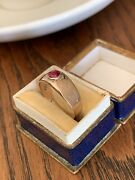 Antique Ruby 8k Rose Gold Ring Gypsy Etched Wide Band Victorian Roman Bezel Set