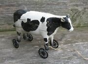 Dairy Cow Pull Toy Sculptureprimitive Home/french Country Farmhouse Barn Decor