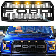 Front Grille For Ford F150 2015 2016 2017 Raptor Style Grill W/led Matte Black