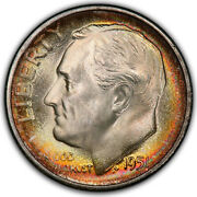 1951-s Roosevelt Dime Pcgs Ms68 Fb Full Bands