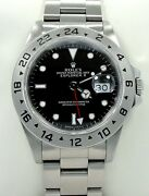 Rolex Explorer Ii 16570 Gmt Stainless Steel Black Dial Watch Mint Condition
