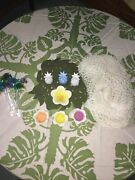 Luau Hawaiian Party Accessories Wood Pineapples Fish Drink Stirs Netting Dishes