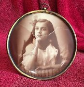 """Antique Round 19th Century Leaning Picture Photo Frame Brass No Glass 6"""" Girl"""