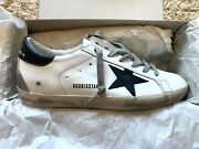New Golden Goose Superstar Leather Sneakers Size 40 10 White Leather Black Star