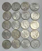 1 Roll 20 Coins Circulated Peace Dollars