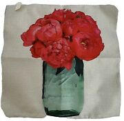 2 Pottery Barn Flower Bouquet Pillow Covers 17 X 17 Canvas Zipper Covers New
