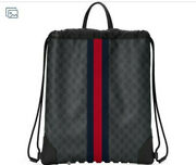Gg Supreme Canvas Drawstring Bag Backpack 473872 Authentic Nwt