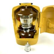 Coleman Lantern Model 275 Brown Picket Fence Globe And Yellow Case Funnel 1978 Usa