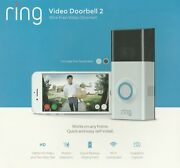 New Ring Pro 2 Video Doorbell Hd Wifi - Satin Nickel - W/ Extra Battery Pack