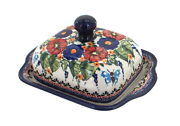 Blue Rose Polish Pottery Floral Butterfly Square Butter Dish