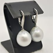 18ct 10.0gr White Gold South Sea Pearl And Diamond Earrings Val 4170 46194