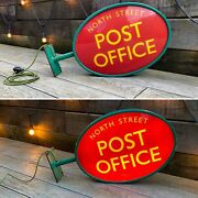 Genuine Vintage Illuminated Post Office Wall Mounted Sign Lamp Mancave