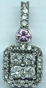 Alwand Vahan 14k White Gold Pave 28 Diamond Pendant And Pink Colored Gemstone