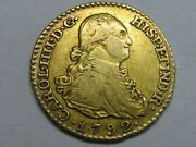 1792 Madrid 1 Escudo Charles Iv Spanish Gold Spain Coin Colonial