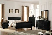 Acme Furniture Louis Philippe Twin Sleigh White 6 Piece Bedroom Set