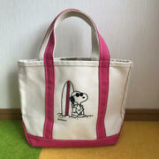 L.l.bean Snoopy Boat And Tote Tote Bag Canvas Plaza Limited White Pink 0974ey