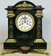 Impressive Antique French 8 Day Striking Ornate Marble And Bronze Mantle Clock
