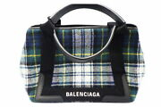 Balenciaga Navy Hippos Wool Check With Pouch Bag Secondhand Popularity 14 _50736