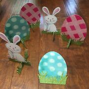 3d Cardboard Easter Bunny With Eggs And Glitter Table Top Decor 9.5
