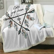 Hippie Boho Catch Your Dream Sherpa Plush Throw Blanket Fleece Bed Sofa Couch