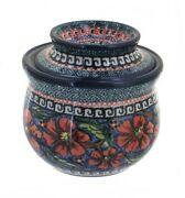 Blue Rose Polish Pottery Jungle Flower French Butter Dish