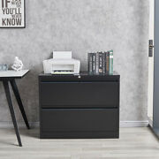 2 Drawer Lateral File Cabinet With Lock Heavy Duty Metal Filling Cabinets Black