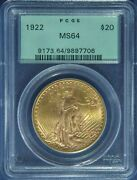 1922 20 Dollars Saint-gaudens - Double Eagle With Motto / Pcgs Old Green Slab