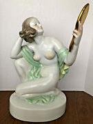 Big Herend Nude Woman With Mirror Porcelain Figurine 15 High