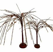 S/2 Willow Trees W Stars Rustic Primitive Table Counter Decor 18 And 12 Ligh...