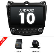 Cam+obd+fit For Honda Accord 2003-2007 10.1 Android 10 Stereo Car Radio Gps Mp5