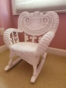 Vintage White Wicker Rocking Chair Victorian Style  Child/youth Size