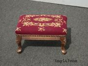 Vintage French Provincial Red Floral Tapestry Needlepoint Footstool Stool