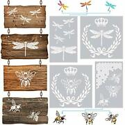 4 Pieces Dragonfly Stencil French Bee Stencil Honeycomb Stencil Reusable