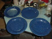 Vintage 4 Blue Speckle Graniteware 10.5 Plates Camping Hunting Fishing Lot A