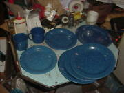 Vintage 8 Blue Speckle Graniteware Plates And Cups Camping Hunting Fishing Lot B