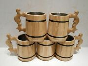 5 Pcs. Set Natural Oak Wooden Beer Mugs/tankard With Insert From Stainless Steel
