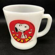 Rare Fire King Mug Handle Snoopy Milk Glass Coffee Made In Usa Vintage Antique
