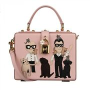 Dolce And Gabbana Leather Dolce Box Bag With Designer Cats Dogs Patch Pink 09600