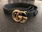 Marmont Thin 3/4in 2cm Black Belt Antique Gold Gg Buckle 85/34 Fits 28-30