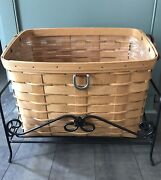 Longaberger Sort And Store Newspaper Basket Protector And Wrought Iron Stand