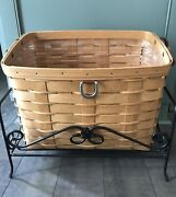 Longaberger Sort And Store Newspaper Basket, Protector And Wrought Iron Stand