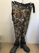 Cabelas Camo Neoprene Insulated Hip Waders Boots Advantage Max 4 Menand039s Size 8