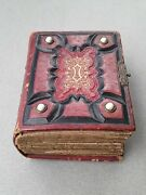 Antique 1860's Leather Photo Album With 34 Period 19th Century Portraits From Pa