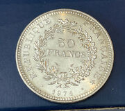 France 1974 50 Francs Silver .900 Hercules And Nymphs Huge Beautiful Coin