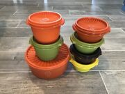 7 Vintage Tupperware Servalier Bowls 1323 4 886 2 And 1204 W/lids Fall Color